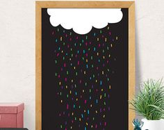 Rainbow and Cloud wall art for your babys nursery or kids bedroom! During checkout please include in the notes to seller: - Choice of color(s) 8x10 & 11x14 prints will have a small white border making it easier for framing with a mat. If you do not want this border please let us know. Prints come freshly printed to order on Ultra Premium Matte Paper or Polar Pearl Metallic Paper with Epson Ultrachrome professional archival inks for lasting color and beautiful image quality. SAVE 15% off ...