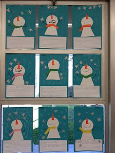 snowmen watching the snow fall from the sky!
