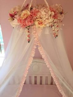 Baby Cribs Handmade Floral Baby Crib Canopy by BabyVioletBoutique on Etsy Baby Bedroom, Baby Room Decor, Nursery Room, Girl Nursery, Nursery Ideas, Room Ideas, Canopy Bedroom, My Baby Girl, Baby Love