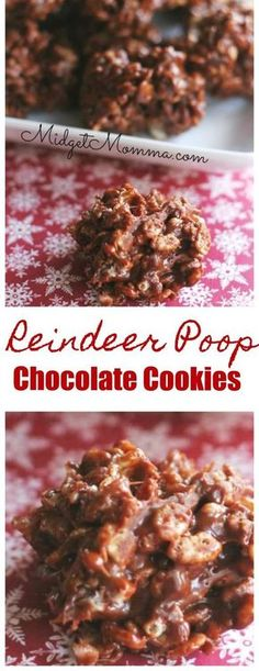 christmas cookie no bake Reindeer poop cookies. Super fun easy to make christmas cookies. No bake christmas cookies. Chocolate crispy christmas cookies that are fun to make. Also known as Reindeer poop cookies! Easy To Make Christmas Treats, Holiday Treats, Holiday Recipes, Healthy Christmas Cookies, Chocolate Christmas Cookies, Chocolate Cookies, Chocolate Rice Crispies Recipe, Chocolate Chips, Christmas Rice Krispie Treats