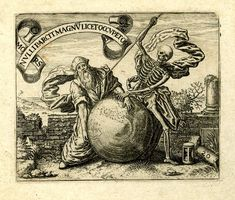 Emblem; A bearded man and Death flank a globe; illustration from the brothers de Bry's 'Emblemata Saecularia' (Frankfurt). 1592
