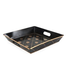 Look at this Black & Gold French Bee Square Tray on #zulily today!