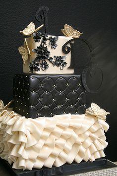 A pretty, modern cake design. Grey, turquoise, and yellow chevron floral cake. Gorgeous Cakes, Pretty Cakes, Amazing Cakes, Crazy Cakes, Fancy Cakes, Unique Cakes, Creative Cakes, Fondant Cakes, Cupcake Cakes