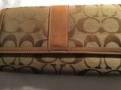 AuthCOACHSignature Khaki Stripe Trifold Checkbook Wallet  Tan Brown
