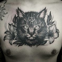 Evil cat by Nico Nerdo (@ nico_nerdo) Cat Tattoo Designs, Design Tattoo, Incredible Tattoos, Beautiful Tattoos, Dark Mark Tattoos, Nerd, Owl, Wedding Tattoos, Future Tattoos