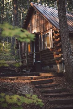 A wooden cabin in the forest looks like dream weekend getaway ©Kira and Matt