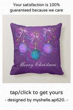 Baubles bows and hearts Christmas Pillow - tap to personalize and get yours #festive, #merry #christmas, #family #purple, Christmas Pillow, Merry Christmas, Accent Pillows, Throw Pillows, Custom Pillows, Festive, Hearts, Bows, Make It Yourself