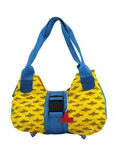Bag to life Upgrade ladies bag beige. Damestas van upcycled reddingsvesten en vliegtuiggordel. De lampjes van het reddingsvest zijn de voetjes van deze tas.