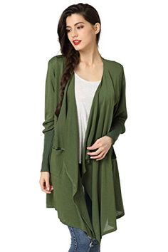 8c137f867e Abollria Cardigans for Women Lightweight Long Sleeve Waterfall Open Front  Midi Long Cardigan with Pockets: Amazon.co.uk: Clothing