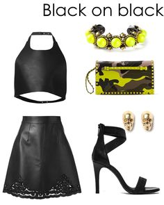 Black on black with hints of gold, neon yellow and edginess. Check out the rest of our looks and why they work together on the blog: www.amodachic.com