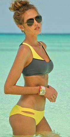 I love these sports bra-like swim tops
