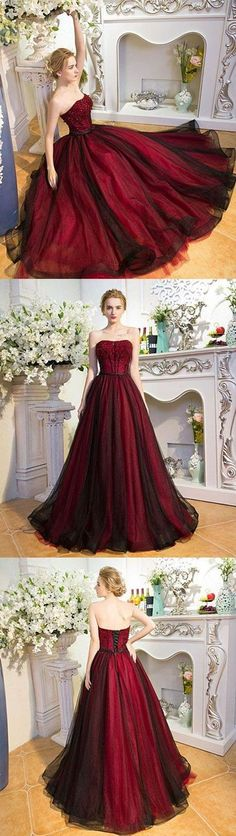 2018 new fashions Unique burgundy tulle long prom dress, burgundy evening dress G378