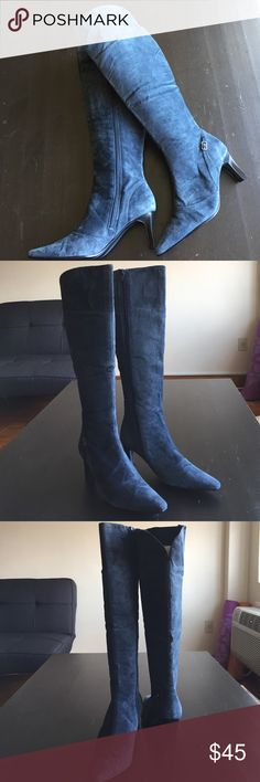 Blue Suede Knee High Boots. Used but in Good Condition Blue Upper Leather Balance Knee High Boots. Classique Shoes Heeled Boots