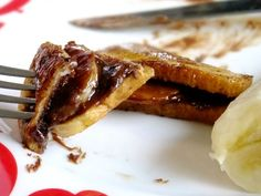 French toast with Nutella and bananas.   I made without using syrup, still yummy and less calories!