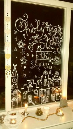 Chalk marker Christmas window decoration - Chalklove - HoMe Christmas Window Decorations, Christmas Door, Merry Little Christmas, Christmas Signs, A Christmas Story, Christmas Holidays, Christmas Crafts, Holiday Decor, Christmas Drawing