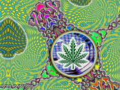 eARTh heART: Hemp Leaf on a Swirling Background, Rainbow Mushroom