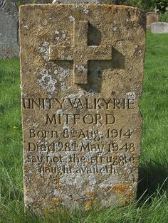 Unity Mitford's gravestone in the churchyard of St Mary's, Swinbrook, Oxfordshire.