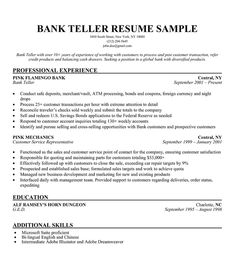 bank teller description for resume