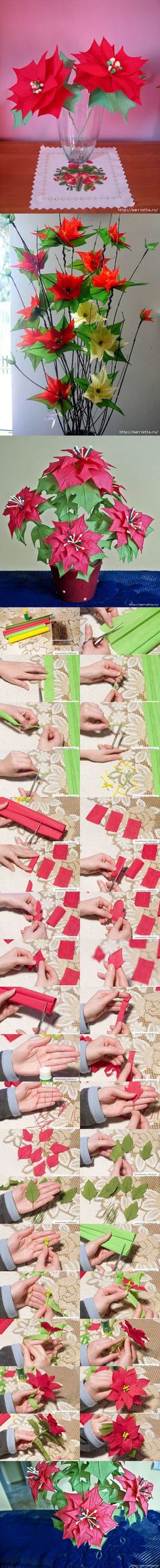 DIY Crepe Paper Poinsettia the Christmas Star   iCreativeIdeas.com Like Us on Facebook == https://www.facebook.com/icreativeideas