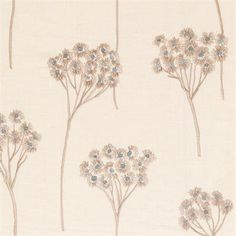 Tasteful embroidery mineral decorator fabric by Clarke