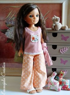 "Pyjama pour poupée Nancy - ""Esther"" Nancy Doll, Barbie, Etsy, Summer Dresses, Dolls, Esther, Baby Born, Life, Fashion"