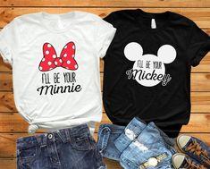 Disney World Shirts, Disney Couple Shirts, Matching Disney Shirts, Matching Couple Shirts, Disney Couples, Couple Tshirts, His And Hers Disney Shirts, Walt Disney, Disney Trips