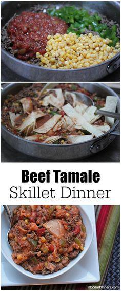Beef Tamale Skillet Dinner ~ I adore these Tex-Mex flavors and the fact that you get your entire meal cooked in one skillet! | 5DollarDinners.com