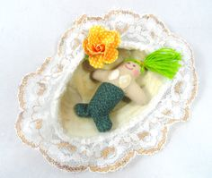 Mini Mermaid Doll With Seashell Bed by JoellesDolls on Etsy