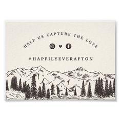 Mountain Sketch Wedding Social Media Hashtag Sign
