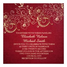 Gold Floral Christmas Wedding Invite