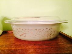 Vintage Pyrex RARE Golden Scroll or Green Scroll Promotional Oval Casserole #045 with Lid 1960's by VintageLove50 on Etsy