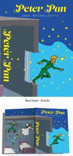 """Peter Pan"" J. M. Barrie Serpieri, Peter Pan, Book Covers, Illustration, Books, Livros, Peter Pans, Illustrations, Livres"