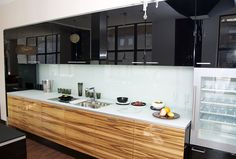 Element Designs -Back painted glass cabinet fronts, countertop, and backsplash
