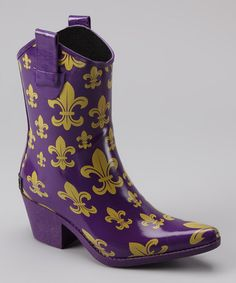 Take a look at this Purple Fleur-de-Lis Tonto Rain Boot by Corky's Footwear on #zulily today!