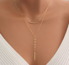 Gold Filled Double Layer Necklace Y Style Moonstone Gemstone Drop Bar Pendant Multi Strand Necklaces Minimalist Jewelry Women Gift for her Stylish Jewelry, Cute Jewelry, Metal Jewelry, Body Jewelry, Vintage Jewelry, Jewelry Accessories, Women Jewelry, Fashion Jewelry, Crystal Jewelry