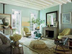Miranda Brooks. White beams, tiffany blue walls, mix of modern and shabby chic.