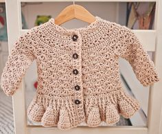 How to make gorgeous peplum #crochet cardigan for kids? Pattern is here!