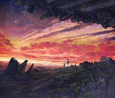 「二人で見た夕焼け」/「コーラ」のイラスト [pixiv]
