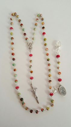 Amazing Multi-color Jasper Rosary Set! Comes with Bonus Clip Rosary! Lent sale! by AutumnsBlessing on Etsy