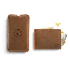 Brown Woolet - slim, smart wallet with matching Charging Pad