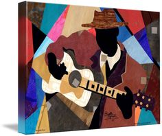 """Memphis Blues "" by Everett Spruill, Orlando, FL // 22 x 28' collage from re-purposed paper features a Jazz/Blues guitarist. This original collage is already custom framed. // Imagekind.com -- Buy stunning fine art prints, framed prints and canvas prints directly from independent working artists and photographers."