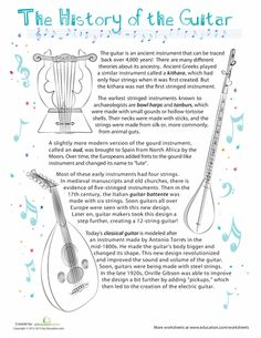 Read Music Worksheets: History of the Guitar - What came before the guitar? Give your little musician a fun way to learn more about one of the oldest types of instruments! Social Studies Worksheets, Music Worksheets, Comprehension Worksheets, Reading Comprehension, Guitar Classes, Middle School Music, Music Guitar, Ukulele, Music Activities