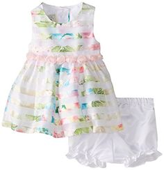 NEW The Children/'s Place Baby Girls Rosette Neon Stripe Dress 12-18 months mos