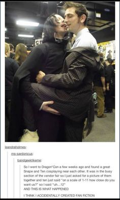 There was arm flailing and snorting over this. What would you even call this ship? #Doctorwho #harrypotter