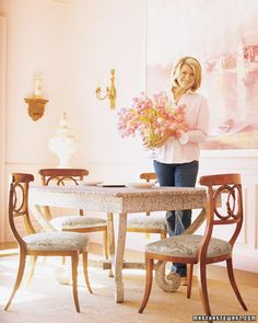 """At Martha's guest cottage in Maine, an array of blush-colored tones creates a welcoming atmosphere."" I like how she placed the desk in a corner with window light. Maybe I will move a desk. Decor, Home, Room Colors, Martha Stewart Home, Dining Room Furniture, Interior, Trending Decor, Pink Room, Dining"