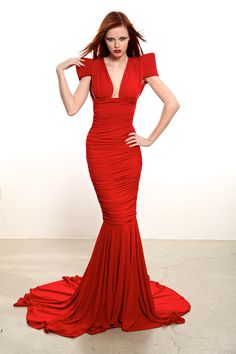 Marc Bouwer Couture Fall 2012/13  Red jersey gown #HauteCouture
