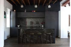 Black kitchen pietra grey marble 12mm Silestone benchtops Surry Hills #warehouse