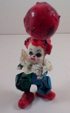 VTG Mexican Paper Mache Clown Balloon folk art doll souvenier 1960s figure 4""