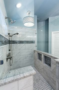 Traditional Master Bathroom with Handheld showerhead, specialty door, Shades of Light Hourglass and Crystal Drum Pendant Ceiling Pendant, Drum Pendant, Flush Lighting, Shower Heads, Master Bathroom, Color Schemes, Home Improvement, Traditional, Think