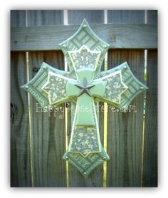Wall Wood Cross - XS - Black/Gray Damask with Silver top cross